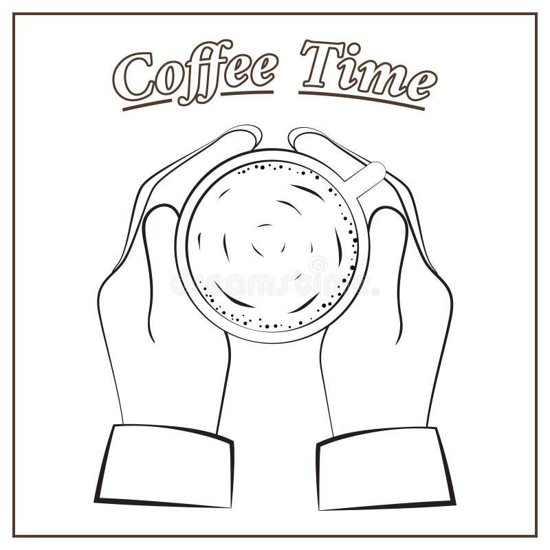 Coffe czas, ręka trzyma filiżankę royalty ilustracja