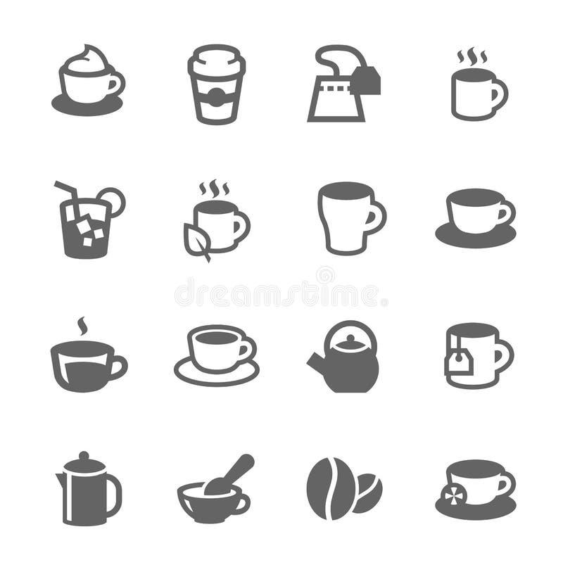 Coffe e ícones do chá ilustração do vetor