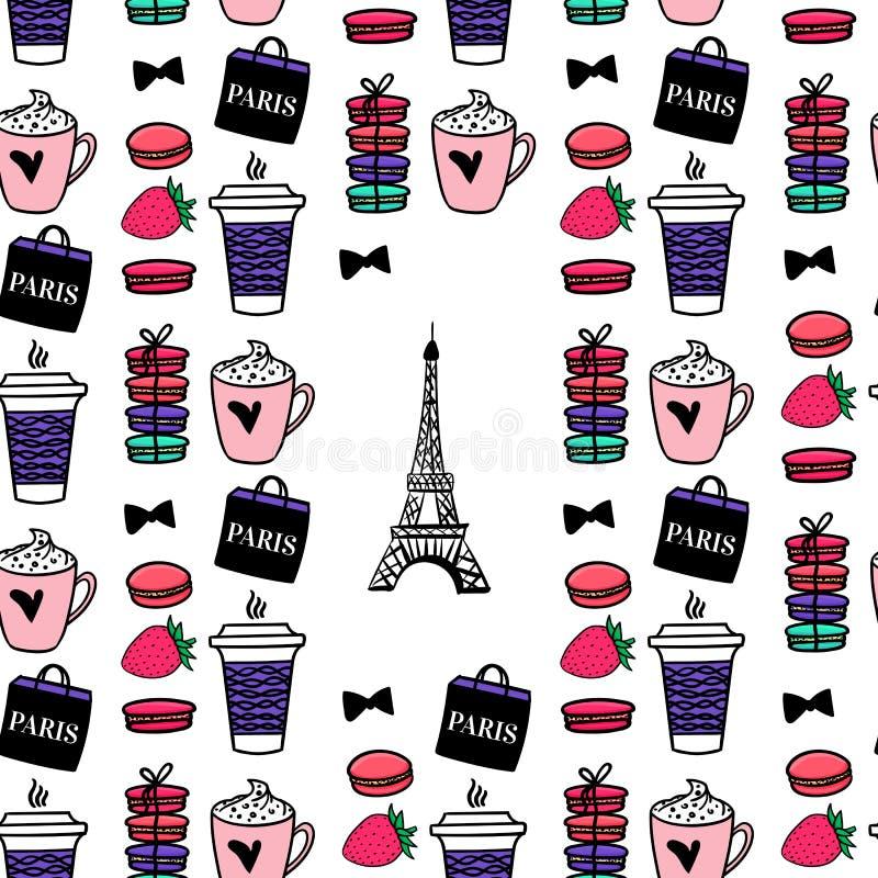Coffe e bolinhos de amêndoa sem emenda do teste padrão Torre Eiffel do estilo de Paris Projeto de superfície Ilustração do esboço ilustração royalty free
