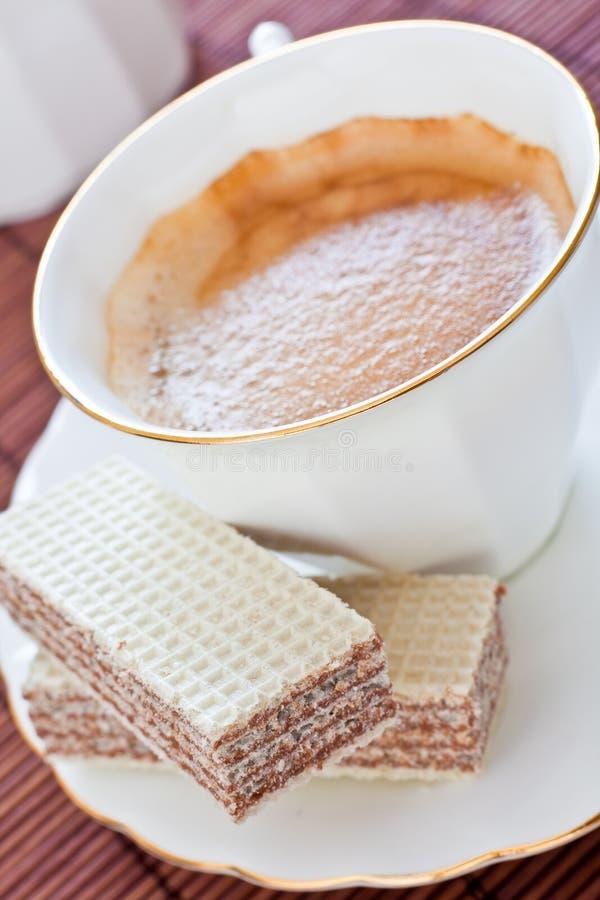 Coffe e waffles foto de stock