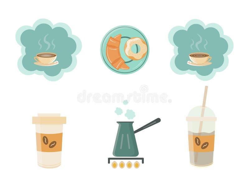 Coffe-Elementsatz für Ihr Kaffeehaus stock abbildung