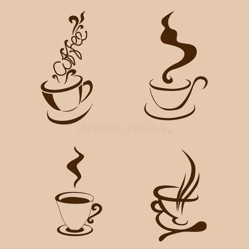 Coffe filiżanki abstarct kształt ilustracja ilustracji