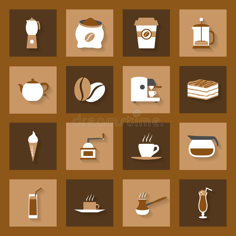 Coffe flat icons set vector illustration