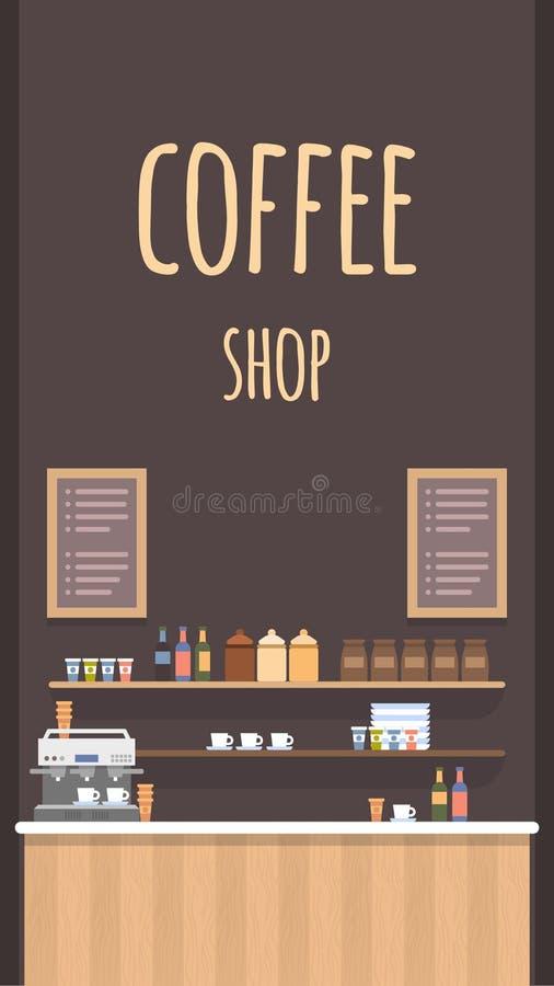 Coffe-Geschäfts-flacher Vektor-Innenraum Moderne Cafeteria lizenzfreie abbildung