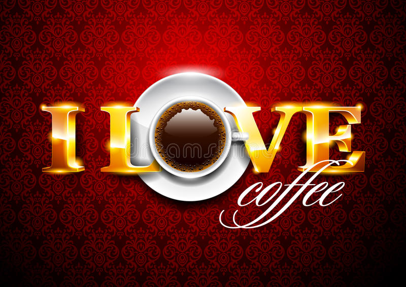 coffe ja kocham ilustracja wektor