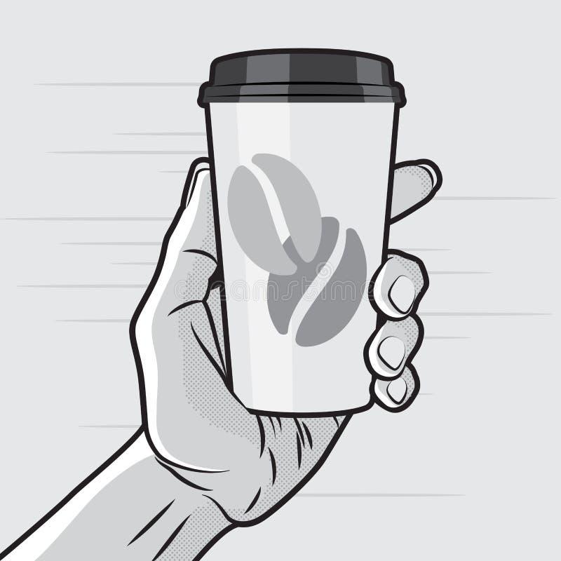 Coffe kopp i hand royaltyfri illustrationer