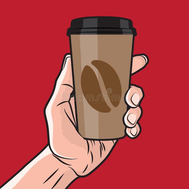 Coffe kopp i hand stock illustrationer