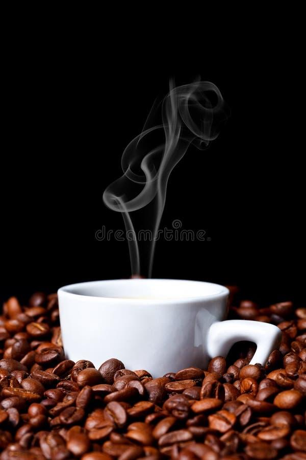 Coffe kopp och coffebönor fotografering för bildbyråer