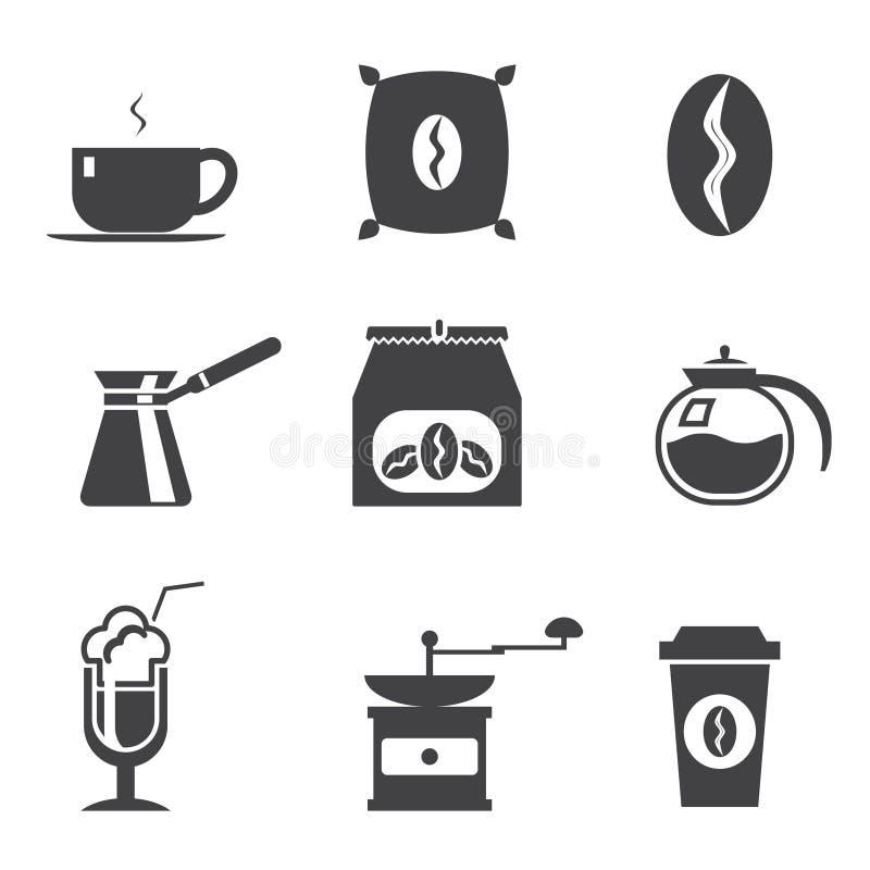 Coffe modern moderiktig symbolsuppsättning fotografering för bildbyråer