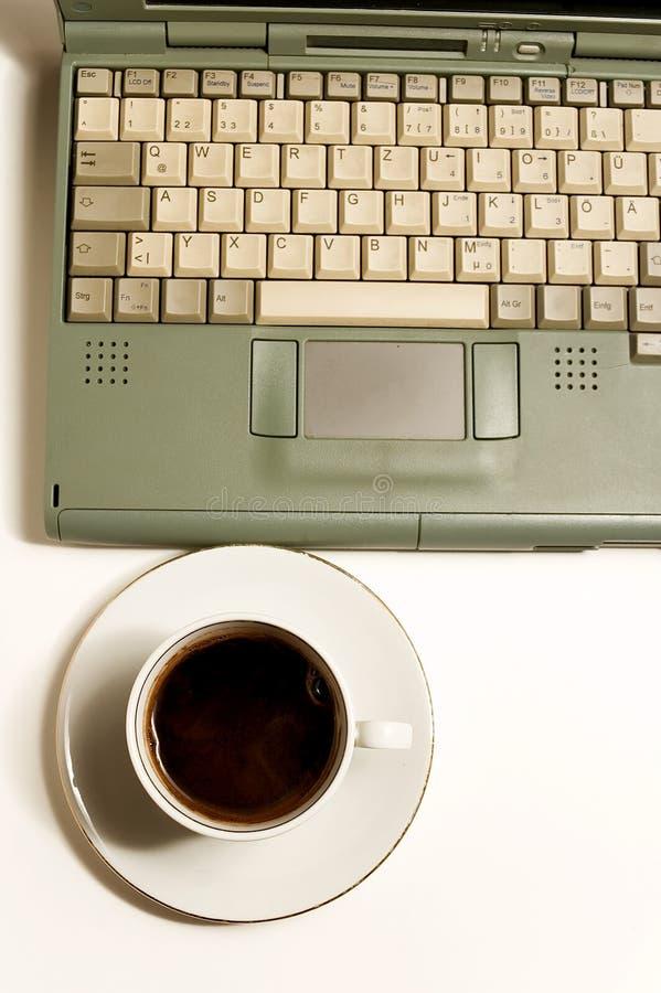 Coffe, portátil fotos de stock royalty free