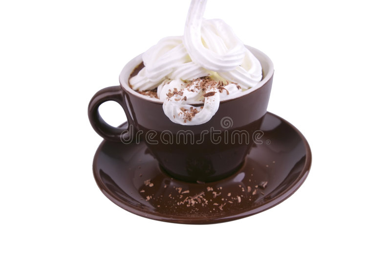 Coffe quente com creme leitoso e creme do chocolate imagem de stock royalty free