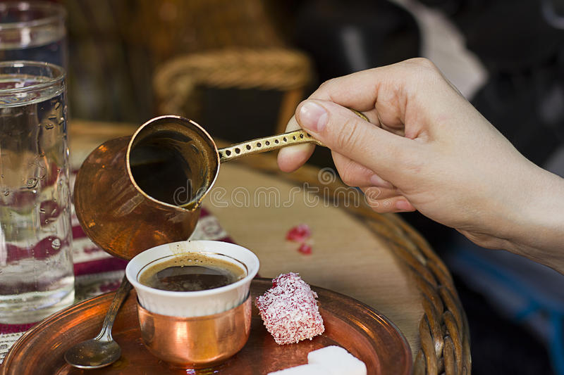Traditional Turkish coffee stock images