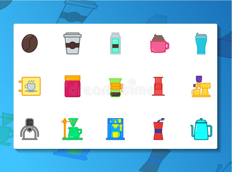 Coffee shop icon set Filled Line style stock illustration