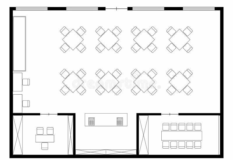 Coffe shoppar floorplan royaltyfri bild