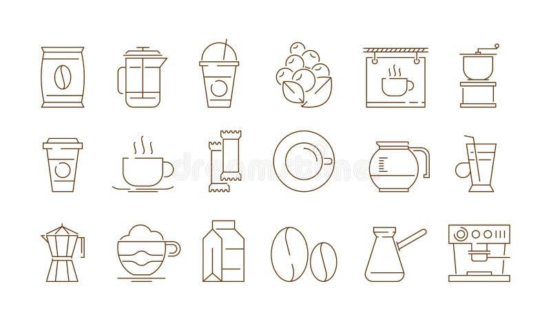 Coffe sklepu ikona Gorący napoje herbata i kawa czas z tortowego karmowego wektoru cienkimi symbolami odizolowywającymi royalty ilustracja