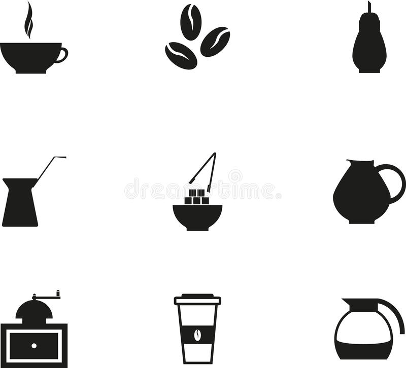 Coffe symbol stock illustrationer