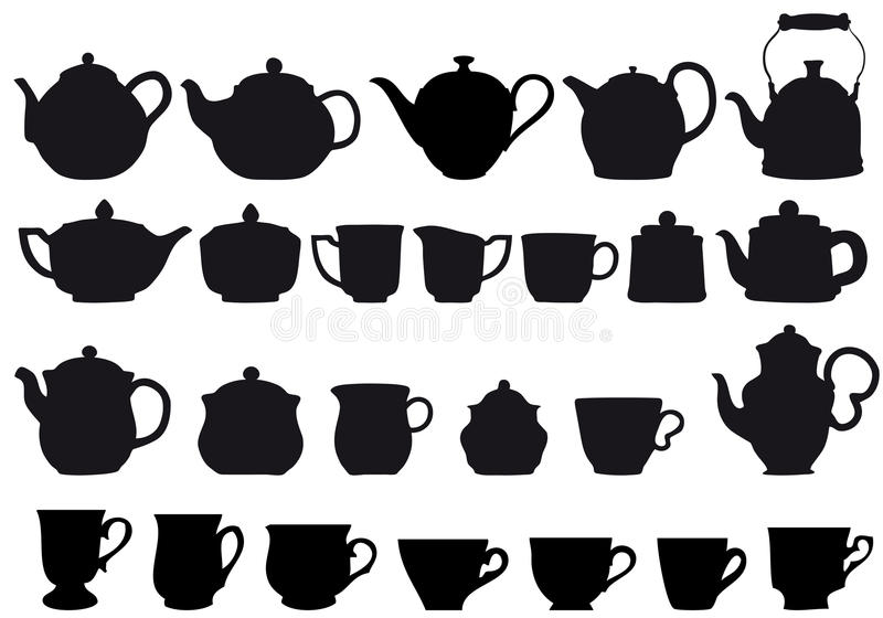 Coffe and tea. Coffee and tea pots with cups, design elements