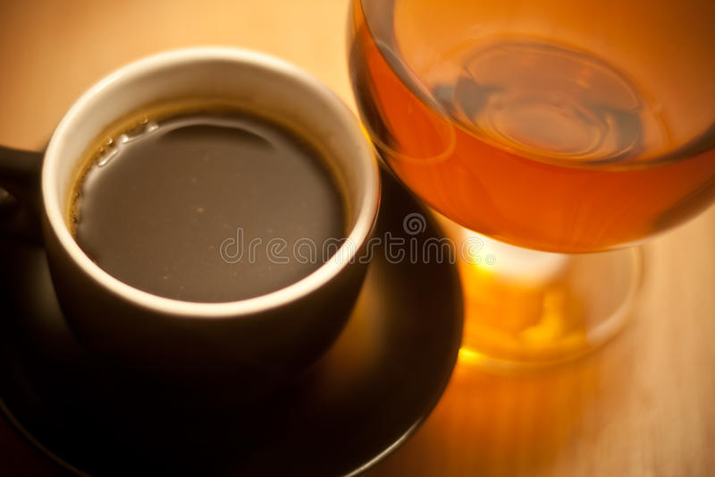 Coffe und Weinbrand stockbild