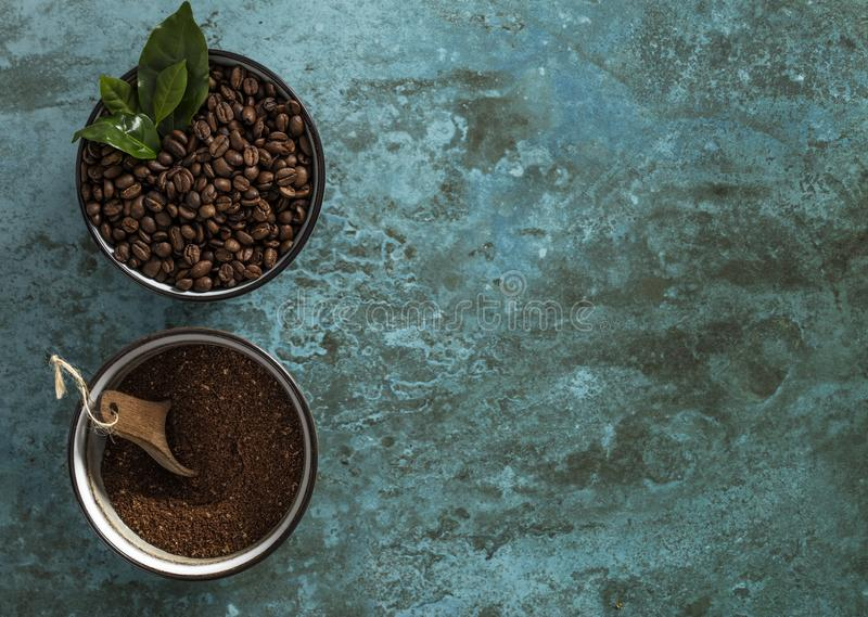Coffea rôti et brut Arabnica de grains de café de Grinded image libre de droits