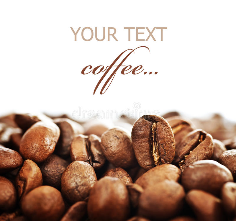 Coffee. Beautiful roasted Coffee beans isolated on white. Selective focus royalty free stock images