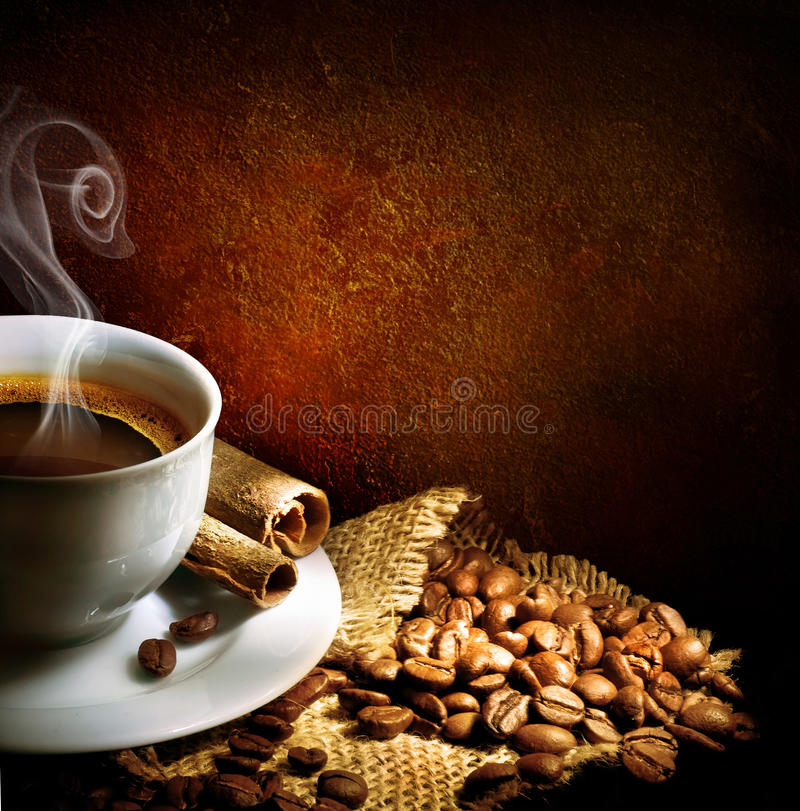 Coffee. Beautiful Cup of Coffee & Cinnamon. With copy space stock photo