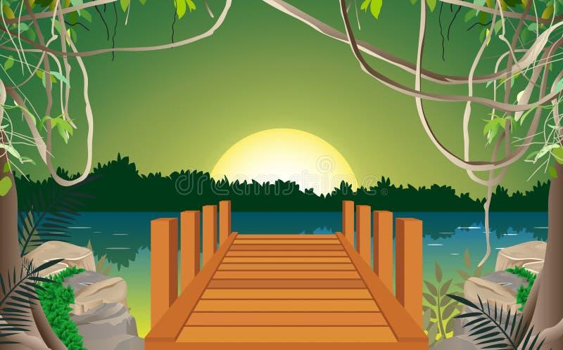 Sunlight in morning in the jungle stock illustration