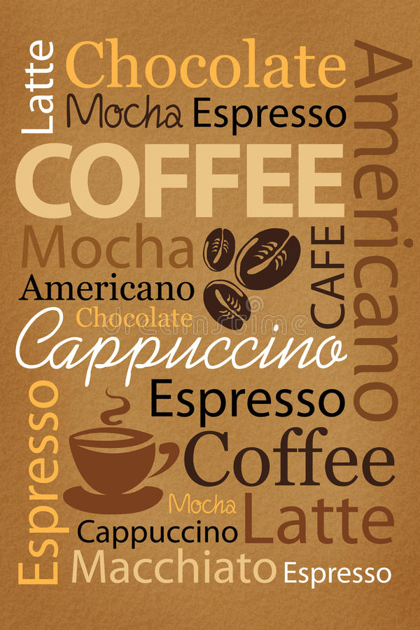 Coffee. Wallpaper for decorate coffee or coffee shop. Words and pictures on a brown background