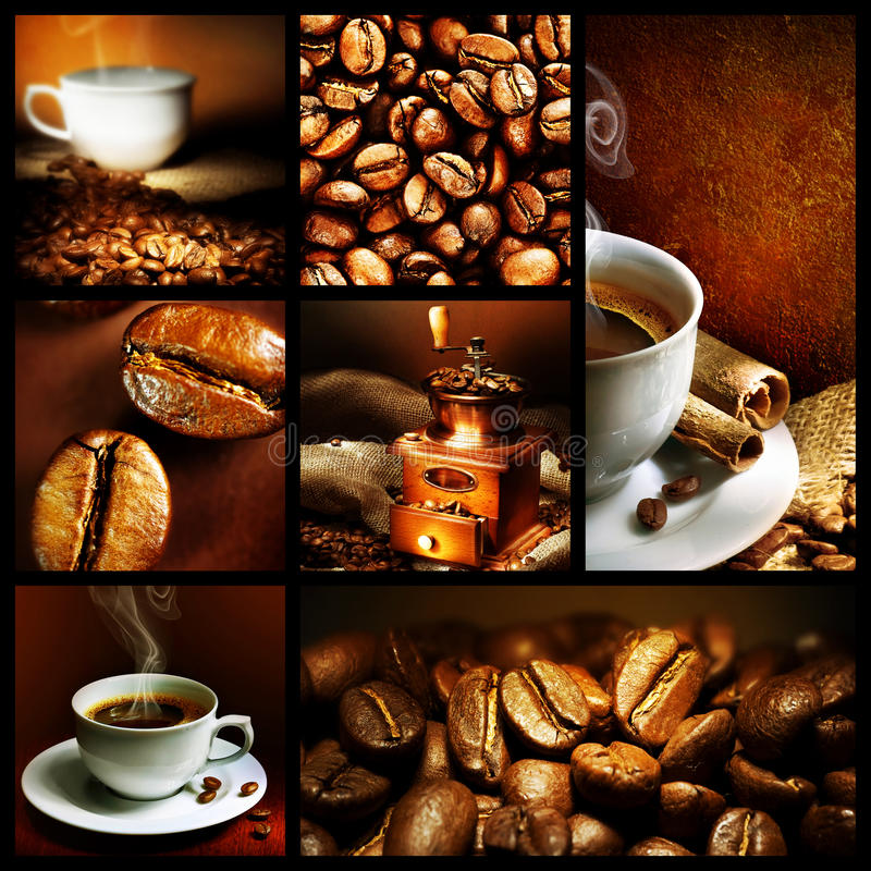 Coffee. Beautiful Coffee Collage.Close-up images royalty free stock photography