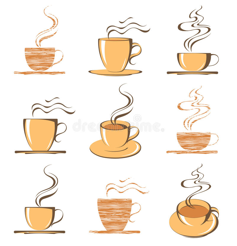 Coffee. 9 coffee cups - illustration royalty free illustration