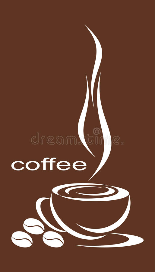 Coffee. Cup from the coffee, nearby three coffee grains. A composition against coffee color royalty free illustration