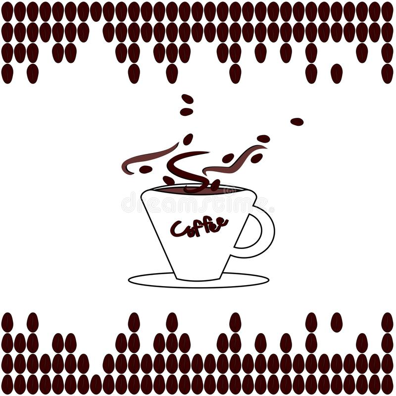 Coffee. Background with coffee cup and beans stock illustration