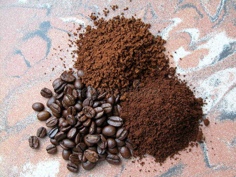 Coffee. Three kind of coffee - beans, grinding and instatn stock images