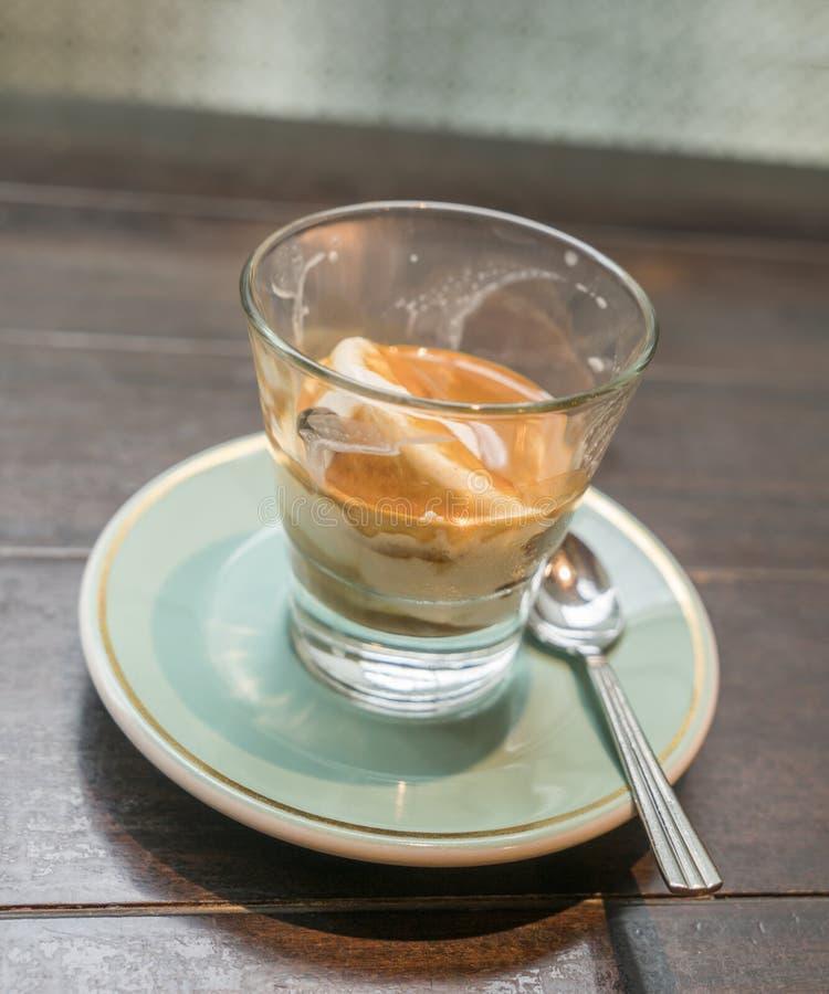 Coffee affogato with vanilla ice cream and espresso royalty free stock image