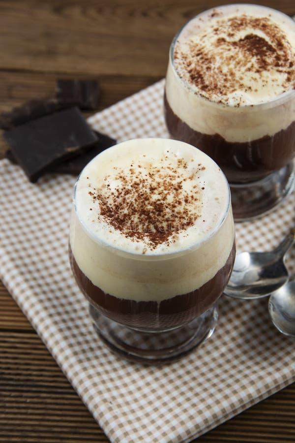 Coffee affogato with vanilla ice cream and espresso. Glass with coffee drink and icecream stock photo