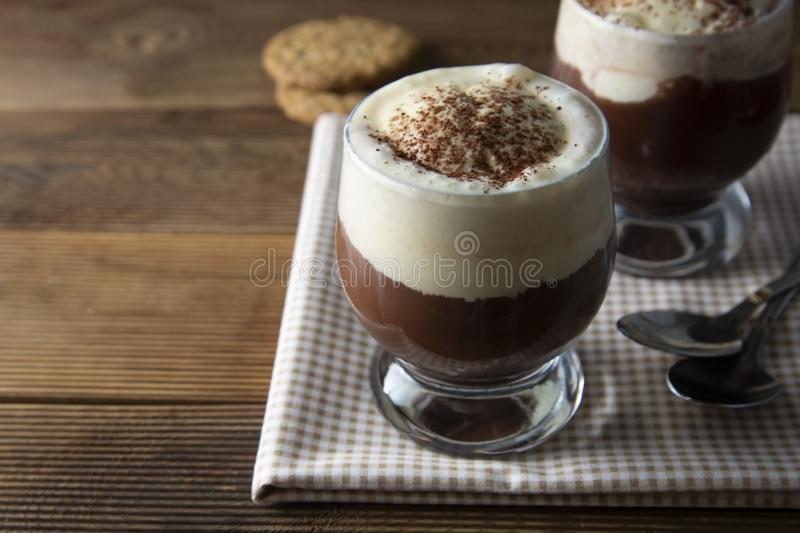 Coffee affogato with vanilla ice cream and espresso. Glass with coffee drink and icecream stock images