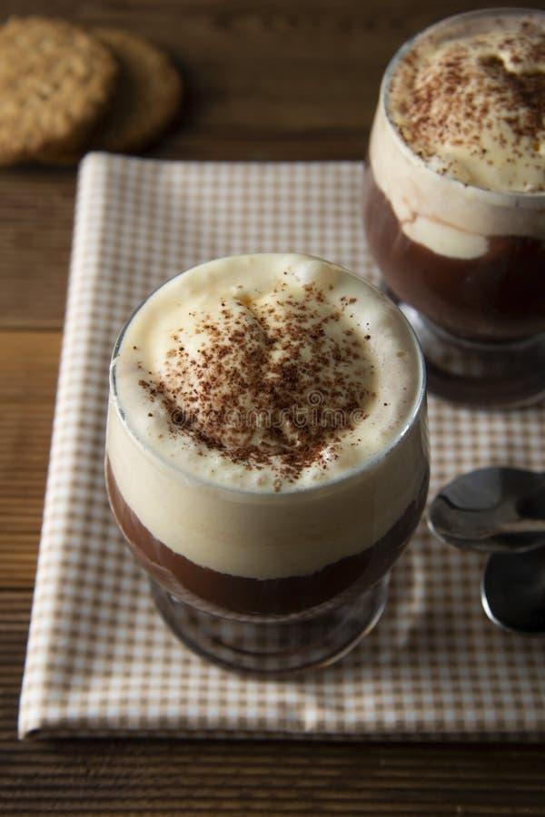Coffee affogato with vanilla ice cream and espresso. Glass with coffee drink and icecream stock photos