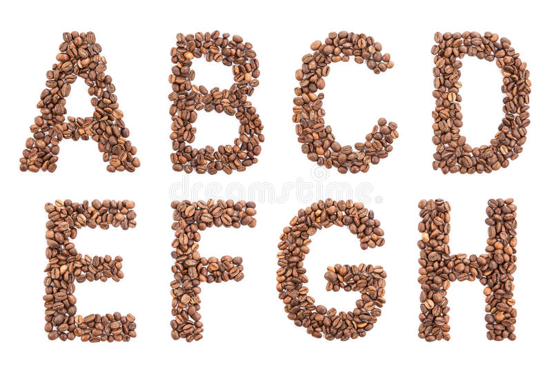 Coffee Alphabet isolated on white. Font from coffee beans vector illustration