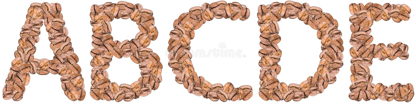 Coffee Alphabet Letters A-E royalty free stock image