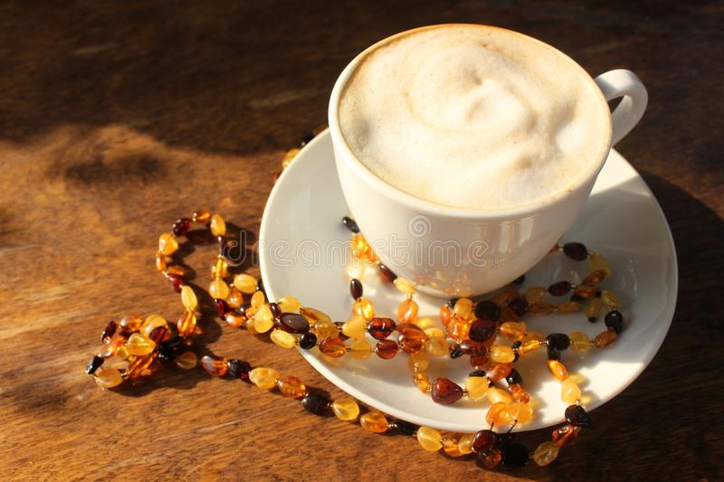 Coffee and amber stock image