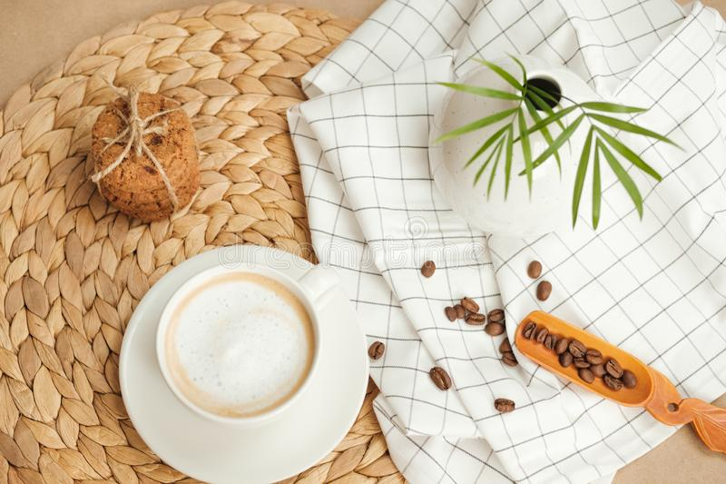 Coffee with American cookies tied with twine stock photo