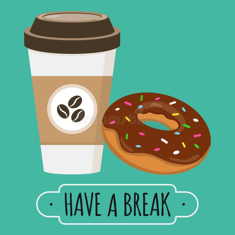 Free Coffee And Donut Illustration. Have A Break Sign. Vector Design. Doughnut With Chocolate Glaze. Paper Coffe Cup Stock Images - 102491814