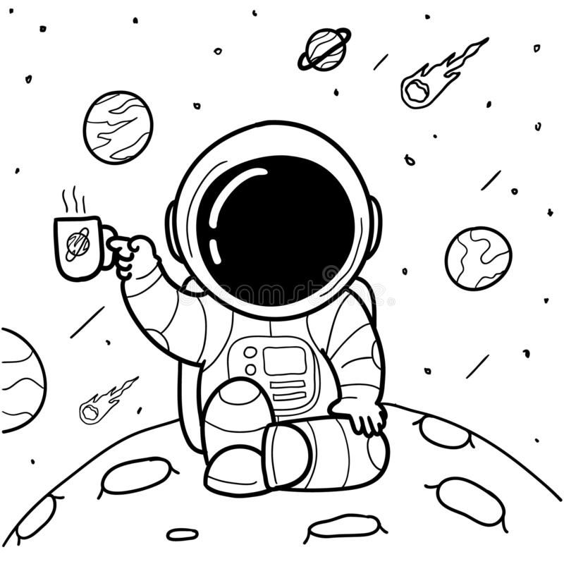 Coffee astronauts hand drawn. Astronauts are relaxing while drinking coffee royalty free illustration