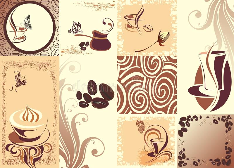 Coffee background with butterflies. Butterfly card cup coffee cafe lattee cappuccino stock illustration