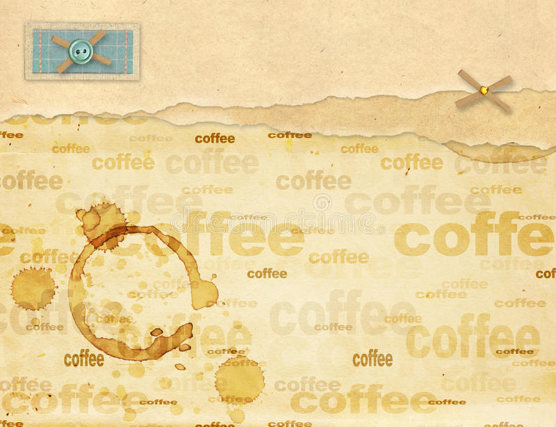 Coffee background. A sheet old, soiled paper with drops of coffee royalty free illustration