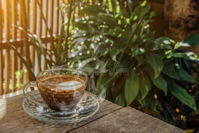 Coffee background, top view with copy space. background, cup of coffee and a smoke good morning, Hot coffee and spoon, Selective f. Ocus stock photo