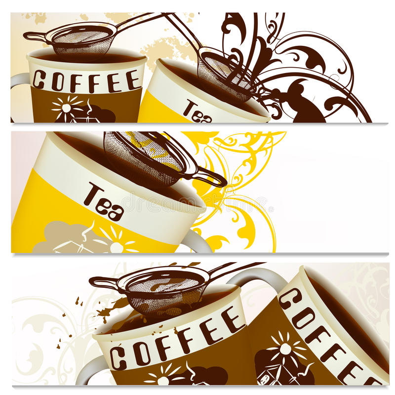 Coffee backgrounds set with cups of coffee and tea. Backgrounds set with cups of coffee and tea vector illustration