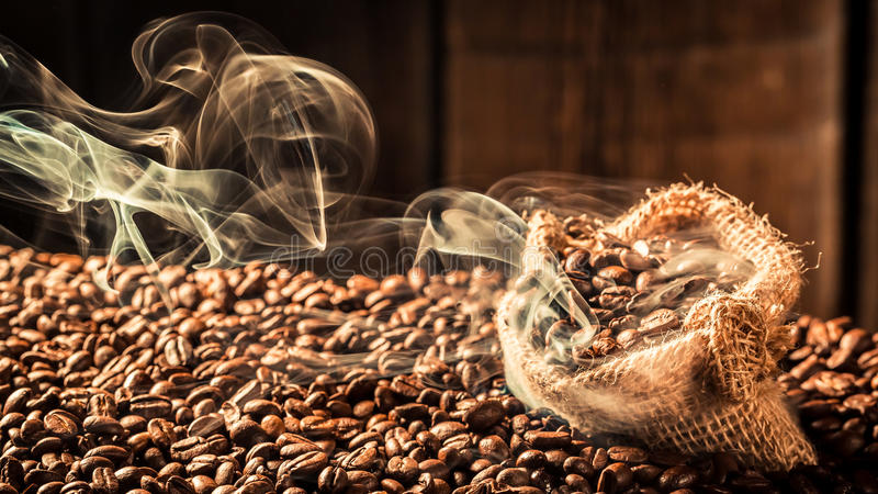 Coffee bag full of taste seeds royalty free stock photography