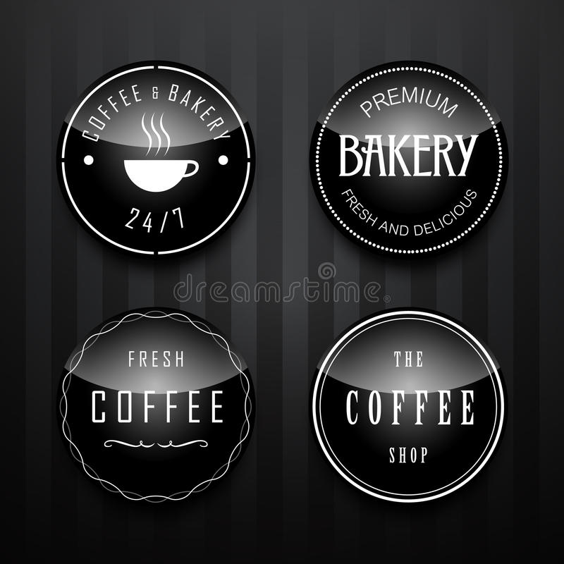 Coffee and bakery Badge and Label set stock illustration