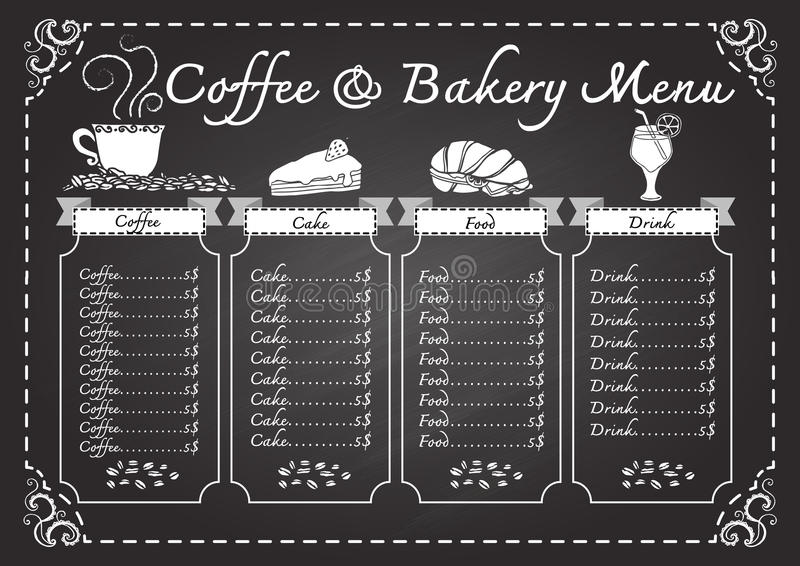 Coffee and bakery menu on chalkboard template. Coffee and bakery menu on chalkboard design template vector illustration