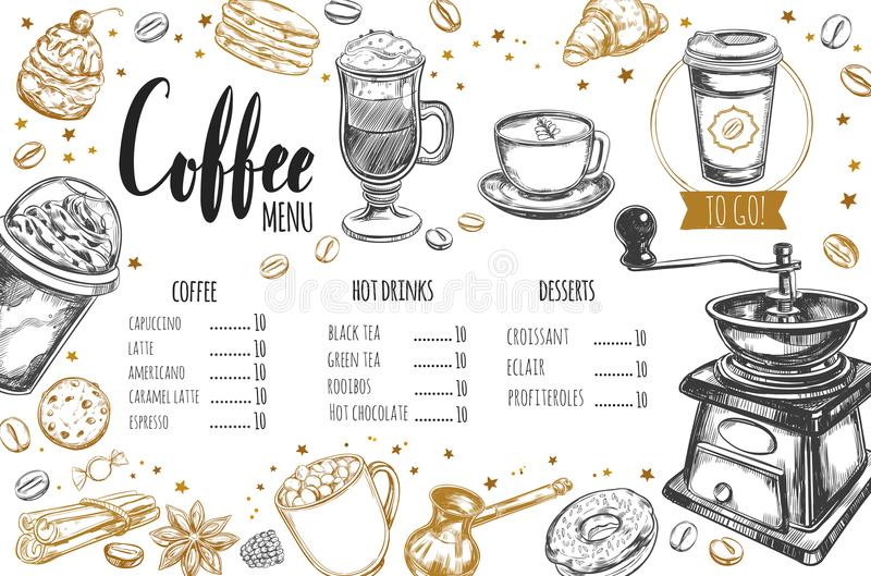 Coffee and Bakery restaurant Menu 3. Coffee and Bakery restaurant Menu, brochure. Vector hand drawn template with sketch illustrations and handwritten Lettering royalty free illustration